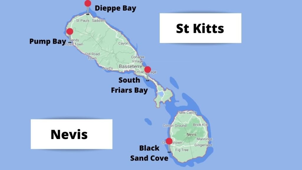 map of the black sand beaches on St Kitts and Nevis